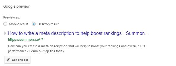 Google preview showing a desktop meta description