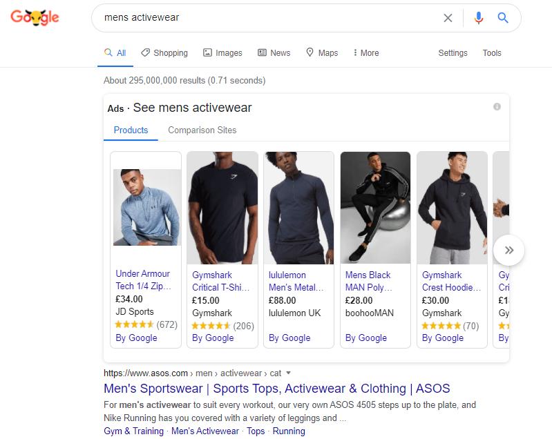 Google Search Mens Activewear