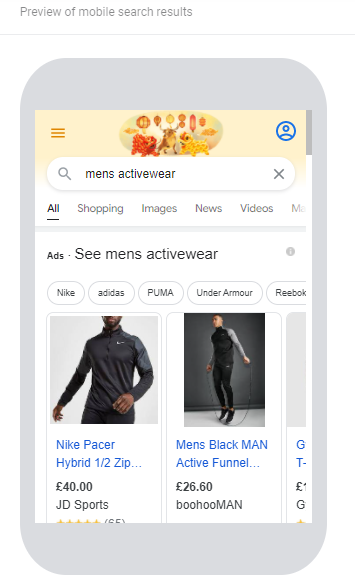Mobile Search Results on Google Preview